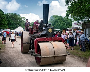 vintage road roller at  Steam Rally or Fair, Sussex, England, UK, 3 June 2018