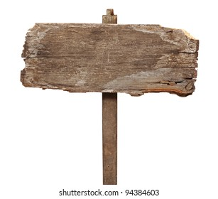 vintage road sign isolated on a white background