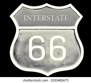 Vintage road sign Route 66 isolated on black background. 3d illustration