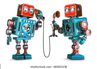 Vintage Robots having a phone conversation. 3D illustration. Isolated. Contains clipping path.