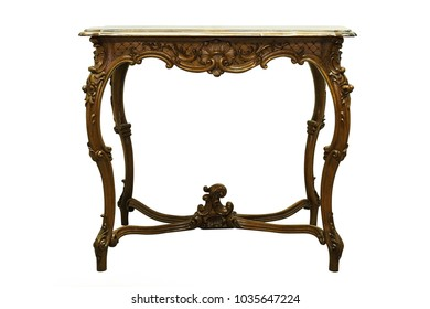 Vintage rococo style small hard wood table isolated on white