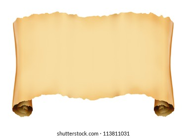 Vintage roll of parchment background - isolated on white