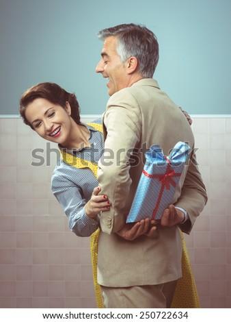 Vintage Romantic Couple Home He Giving Stock Photo (Edit Now