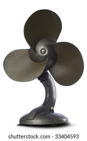 a vintage room fan on white