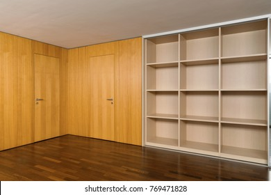 Vintage room with large wardrobes and parquet