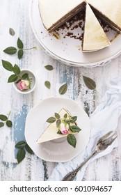 Vintage rose cake on white table