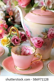 vintage roses coffee pot and tea cup - tea party