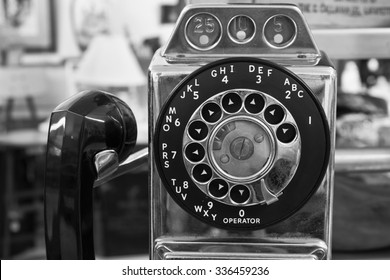 Vintage Rotary Pay Phone - Old Pay Telephone with Coin Slots I