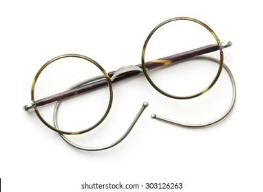 8c3c0687ea6 Vintage round eyeglasses isolated on white