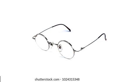 Vintage round glasses isolated on white background