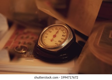 Vintage round shaped desk thermometer