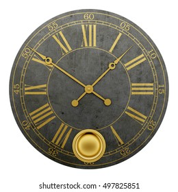 vintage round wall clock isolated on white background. 3d illustration
