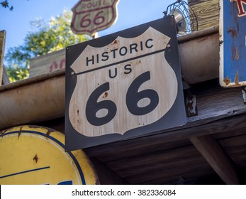 Vintage Route 66 road signs located in California, USA