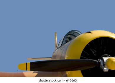 Vintage Russian warplane, isolated on a blue background.