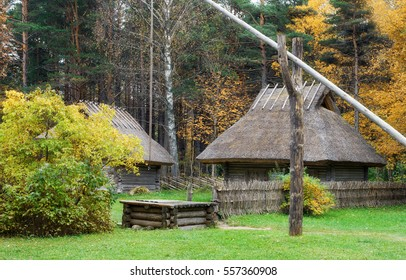 vintage, rustic house in the autumn mist. The open air Museum in Tallinn. The sights and history of Estonia. Rural landscape. Estonia. Golden autumn.