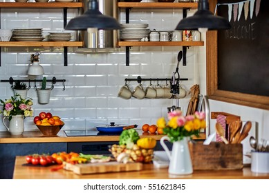 Vintage rustic  interior of a country house kitchen