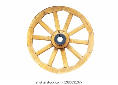 Vintage rustic wooden wagon carriage wheel isolated on white background