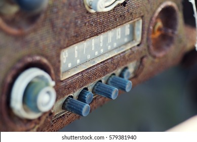 Vintage Rusty Car Radio with Push Buttons