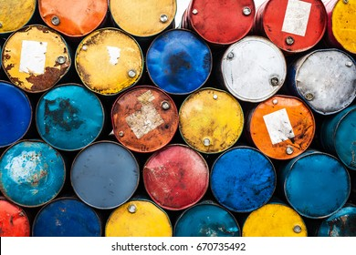 vintage and rusty oil drums, colorful objects