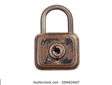 Vintage rusty padlock, isolated on white background