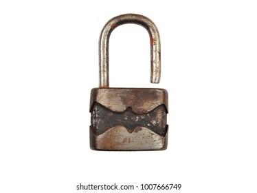 Vintage rusty padlock, isolated on white background