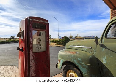 Vintage rusty truck on gas station somewhere in USA