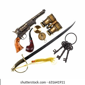 Vintage saber and old pistol