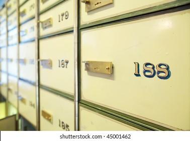 vintage safe deposit boxes. Focus on 188