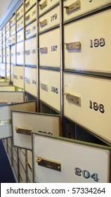 vintage safe deposit boxes. Locked and opened