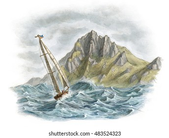Vintage sail yacht boat rounding Cape Horn in rough sea and storm - white no background