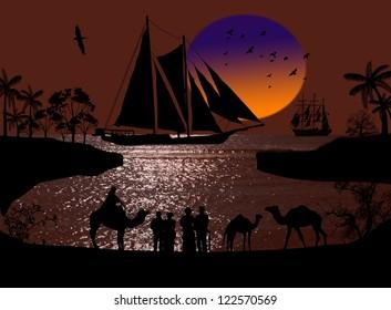 Vintage sailboat sailing at sunset on arabian seascape and camel caravan