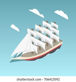 Vintage sailing ship colorful minimalistic isometric style raster illustration