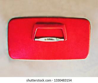 Vintage Samsonite luggage. Vintage blue bird blue and vintage red. Makeup case.