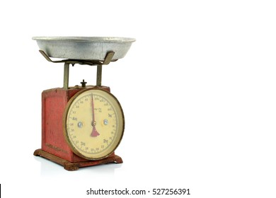 Vintage scales, Old scales, Antique scales on white background
