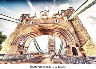 Vintage scene of Tower Bridge, London.