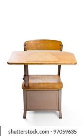 Vintage school desk isolated on white