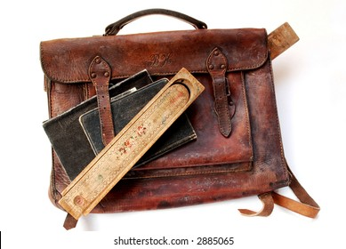 Vintage schoolbag with notes and pen-case