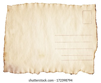 Vintage scorched postcard is isolated on white background