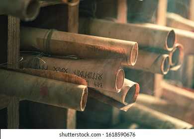 Vintage scribe library full of medieval and old scrolls