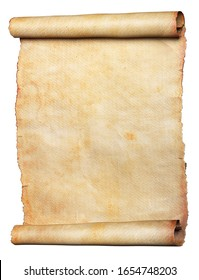 Vintage scroll or parchment manuscript isolated on a white background. Clipping path included.