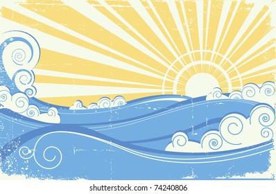 Vintage sea waves. Illustration of sea landscape with sun.Raster