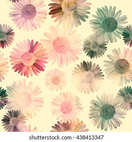 Vintage seamless pattern with daisy, chamomile flowers, colorful retro natural  background.