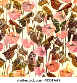 Vintage seamless pattern with tropical flowers. Anthurium, flamingo flower. Colorful retro natural background.