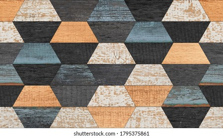 Vintage seamless wooden wall with trapeze pattern made of painted  boards. Wood texture background.