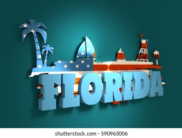 Vintage seaside view poster. Palm and safeguard tower on the beach. Yacht in the ocean. Silhouettes on grunge brush stroke. 3D rendering. Metallic glossy material. USA flag. Florida text