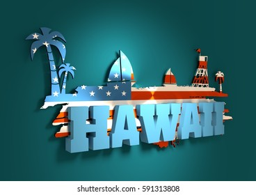Vintage seaside view poster. Palm and safeguard tower on the beach. Yacht in the ocean. Silhouettes on grunge brush stroke. 3D rendering. Metallic glossy material. USA flag. Hawaii text