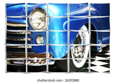 Vintage Sedan Headlight, Fender and Whitewalls