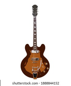 Vintage semi-acoustic retro archtop guitar illustration with tailpiece