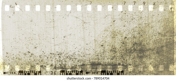 Vintage sepia film strip frame scratched textured.