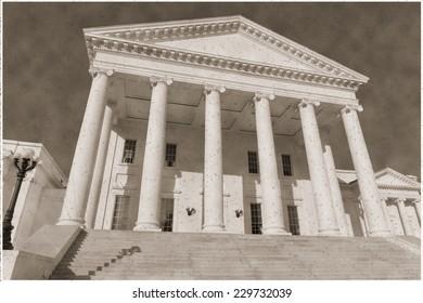 Vintage sepia imitation view on Virginia statehouse